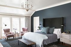 Dark accent wall with dark furniture. Balances out the white Brentwood, California. 2014