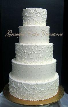 wedding cakes black Elegant Ivory Wedding Cake with Pink Pearls and Lace Scrol Ivory Wedding Cake, Black Wedding Cakes, Wedding Cakes With Cupcakes, Elegant Wedding Cakes, Beautiful Wedding Cakes, Wedding Cake Designs, Wedding Cake Toppers, Beautiful Cakes, Rustic Wedding