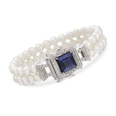 http://www.ross-simons.com/products/771788.html 5.5-6mm Pearl and 4.70 Carat Sapphire Bracelet With .30 ct. t.w. Diamonds In Sterling Silver