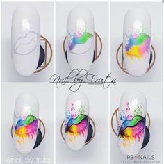 Nail Art Designs Videos, Nail Art Videos, Gel Nail Designs, Nailart, Water Color Nails, Nail Techniques, Rose Nails, Manicure E Pedicure, Halloween Nail Designs