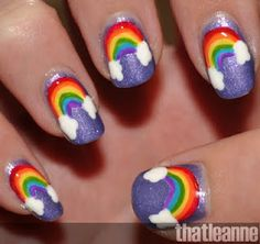 Rainbow nails, talk about a sunshine day. If I could do this and it stayed on for more then a day then everything would be going my way. :)