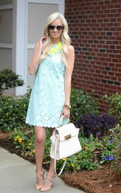 mint green laser cut dress - nude heeled sandals - neon statement necklace - white tote bag | mckennableu.com