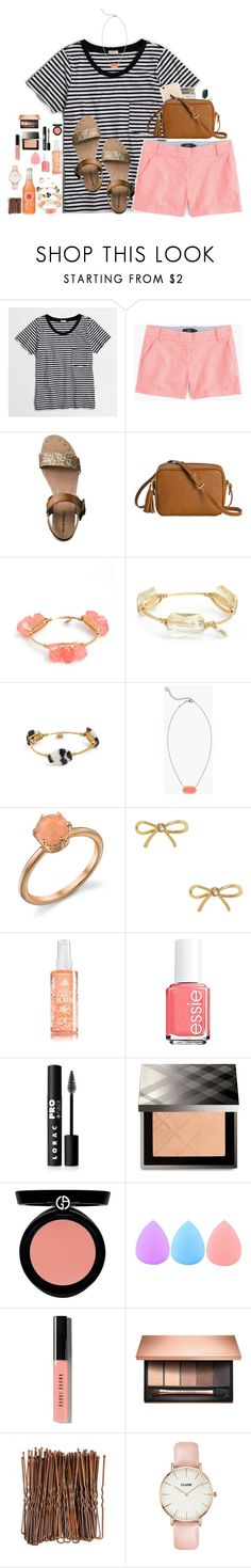 """""""Stripes and Peach"""" by sc-prep-girl on Polyvore featuring J.Crew, Jack Spade, Mossimo, Bourbon and Boweties, Kendra Scott, Irene Neuwirth, Kate Spade, Essie, LORAC and Burberry"""