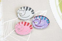 Cat wood brooch badge painted grey pink purple