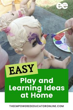 Looking for easy play based learning activities for your toddler and preschooler? Check out these 17 easy play and learning ideas you can do at home. Most of these activities can be set up as indoor or outdoor play.   The Empowered Educator Pre K Activities, Infant Activities, Learning Activities, Toddler Teacher, Toddler Preschool, Play Based Learning, Early Learning, Early Years Teacher, Homemade Paint
