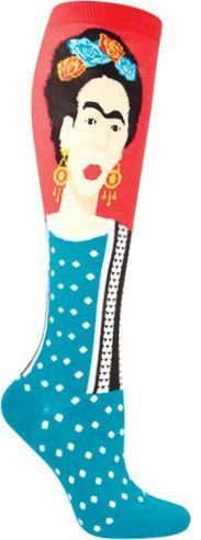 Quite the artistic knee high featuring the famous Mexican painter, Frida Kahlo.  Available in both Fern & Red, these socks fit a shoe size 5-10.