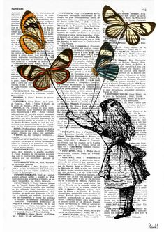 Alice in wonderland wall art Alice and the flying butterflies II Alice in Wonderland Collage Dictionary print Art mural Alice au pays des merveilles Alice au Prrintland Alice par PRRINT Book Page Art, Book Art, Art Mural, Wall Art, Journal D'art, Art Papillon, Art Du Collage, Newspaper Art, Alice And Wonderland Quotes