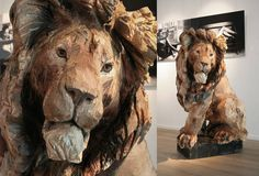 Sculpture wood made by Jurgen Lingl-Rebetez with chainsaw. Look at details, wonderful!.