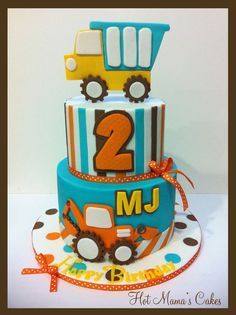 Turquoise, Orange, Brown and Yellow Stripe Construction Cake (MJ) Themed Birthday Cakes, First Birthday Cakes, Themed Cakes, 2nd Birthday, Truck Cakes, Construction Birthday, Construction Cakes, Cakes For Boys, Fancy Cakes