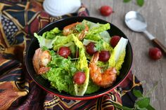 This super-easy salad comes together in no time. The pan seared prawns are combined with Romaine lettuce, fresh herbs and gooseberries, and then tossed with a light vinaigrette dressing that can be served as either appetizer or entrée.