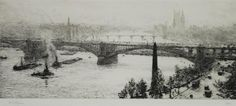"""WILLIAM LIONEL WYLLIE ARTIST SIGNED ETCHING Westminster` signed in pencil and No. XII 6 3/8"""" x 14"""