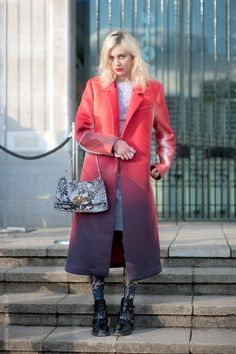 Stylist, Tess wearing Kai Wok coat, H dress & Balenciaga shoes (photo: Wayne Tippets).