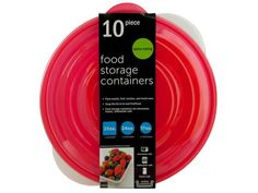 Round Nesting Food Storage Containers, 4 - Pack snacks, fruit, lunches and much more with this space saving 10-piece Round Nesting Food Storage Containers Set featuring transparent bowl-shaped containers with red snap-on lids to seal in freshness. Set includes: 1 25-ounce container, 2 24-ounce containers and 2 17-ounce containers with lids. BPA FREE. Microwave, freezer and dishwasher safe. Comes packaged with a wrap around.-Colors: transparent,red. Material: plastic. Weight: 3/unit