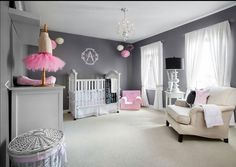 Baby girl nursery room decoration. Love the gray with a little bit of pink!