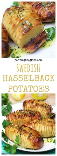 Hasselback Potatoes: Fun looking, delicious tasting potatoes. Crisp on the outside, creamy on the inside. Baked with lemon, garlic dijon vinaigrette.