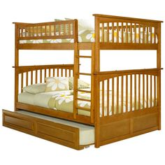 Atlantic Columbia Bunk Bed over with Raised Panel Trundle Bed in Caramel Latte