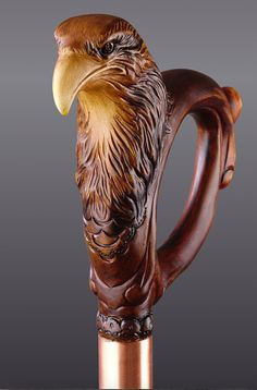 "Handmade Hand Carved Wood Walking Stick Cane ""Patriot American Eagle"", Etsy (cbbka) -- $150.00 + $20.00"