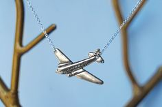 Silver Airplane Necklace by EnchantedLeaves on Etsy