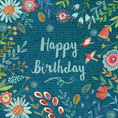 Happy Birthday. Verjaardagskaart met bloemen, verkrijgbaar bij #kaartje2go voor €1,79