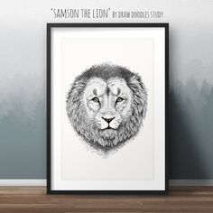 "Poster: ""Samson the Lion"".  Ink drawing by Draw Doodles Study. Available as poster. Limited edition."