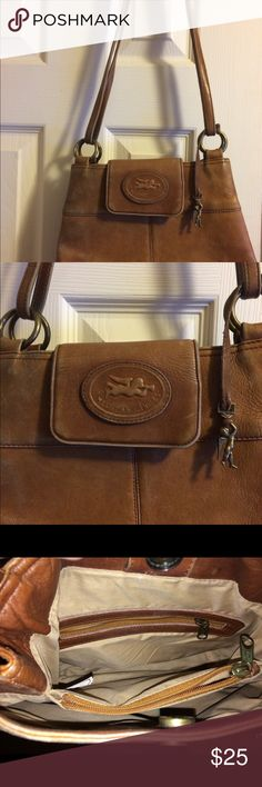 """Pocketbook American Angel genuine leather brown shoulder bag with two longer leather handles 14 strapdown and is 8 inches in depth. Interior is in good condition cloth lining no tears, rips and no stains. Snap closure with one large interior area with zippered Middle area and a third section with another zippered compartment  and 1 inside  pocket. Also has outside zippered compartment as well. Pocketbook is in great condition no tears and has that traditional vintage """"worn"""" look. Beautiful…"""