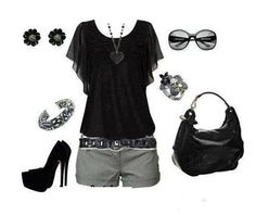 Adorable shorts ensemble - love everything but the heels I would probably wear flats