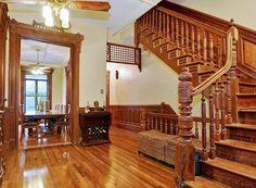 New York brownstone interior stairway bannister