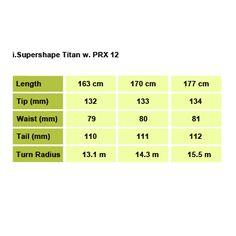 i.Supershape Titan w. PRX 12 Size Chart Head Skis, Skiing, Size Chart, Pure Products, Crows, Lotus, Black, Spoon, Ski