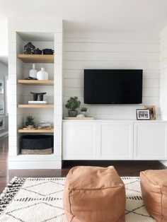Shiplapped Media Built-ins – The Heart and Haven - - Shiplapped Media Built-ins – The Heart and Haven Project Resources- for buildings with shiplap Shiplapped Media Built-Ins – Das Herz und der Hafen Built In Tv Wall Unit, Built In Shelves Living Room, Tv Built In, Living Room Tv, Home And Living, Built In Tv Cabinet, Small Living, Built In Cupboards Living Room, Tv On Wall