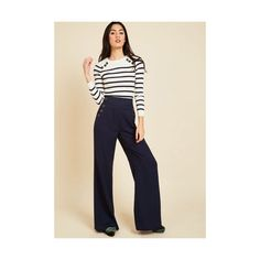 Nautical Wide Leg Every Opportunity Pants (78 AUD) ❤ liked on Polyvore featuring pants, apparel, blue, bottoms, pant, wide pant, blue trousers, wide leg trousers, wide-leg trousers and lined pants
