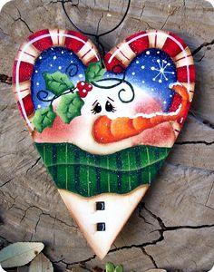 Sweetheart Snowman Ornament by CountryCharmers on Etsy, $8.00