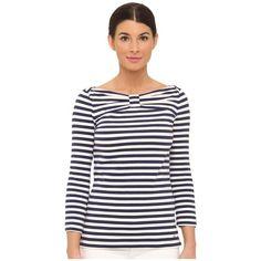 Kate Spade New York® Wheaton Top! Boat neckline. Three-quarter sleeves. Nauti…