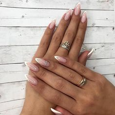 Faded french nails posts my life nails, alm French Nails, French Manicure Nails, Gel Nails, French Stiletto Nails, Almond Nails French, Long Almond Nails, Coffin Nails, Nails French Design, White Almond Nails