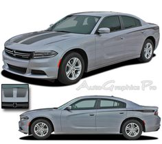 """2015-2016 Dodge Charger """"RECHARGE 2 COMBO"""" Hood and Sides Mopar Style Vinyl Graphics Stripes Kit"""