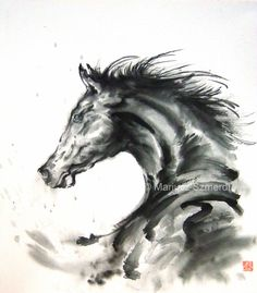 Horse art horse painting spirit stallion black horse by SamuraiArt, $150.00