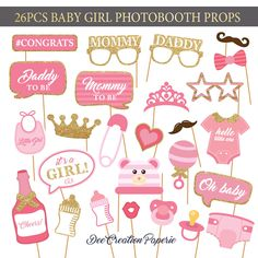 Printable Baby Girl Shower Photobooth Props - Baby Girl Photo Booth Props - Its a girl Party Props -Pink baby girl - Instant Download by DeeCreationPaperie on Etsy https://www.etsy.com/listing/533511913/printable-baby-girl-shower-photobooth