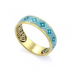 Православное кольцо с эмалью КПЭ002-10 ручной работы выполненное из серебра с позолотой