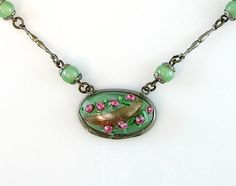 Venetian Art Deco Vintage Necklace Pink by bohemiantrading on Etsy