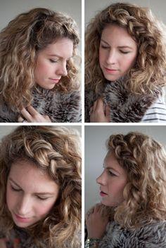 curly hair style, braided headband [cute curly hair blog]