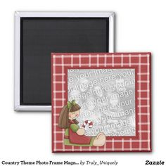 Country Theme Photo Frame Magnet with Rag Doll