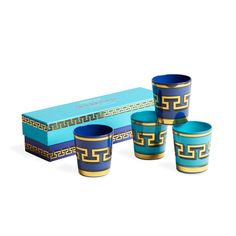We've captured the feeling of diving into the Aegean Sea. Glassware in two lucid blues topped with a Greek key pattern in a lustrous, glamorous gold. Add a punch of international pop to your drinkw Greek Art, Jonathan Adler, New Shop, Mykonos, Luxury Gifts, Hostess Gifts, Drinkware, Coffee Cans, All Modern