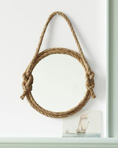 Nautical mirror for boys room... going to try this with beach combed rope