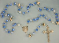 Baseball Rosaries - Czech Blue & White or Capri AB Blue and Clear Glass Beads - Ceramic Baseballs - Holy Face Centers - Italian…