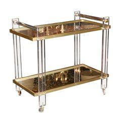 karl springer lucite and brass bar cart