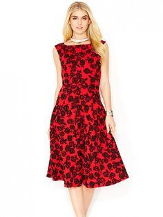 Betsey Johnson Textured Rose-Print Midi Dress