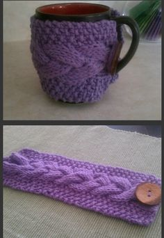 Cable knit coffee mug cozy. Free pattern!
