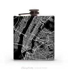 New York City Night Map 6oz or 8oz Liquor Hip by DrinkingBuddy