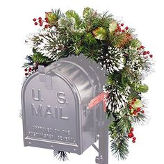 Santa's Little Helper Collection 3' Wintry Pine Collection Mailbox Swag with Red Berries Cones & Snowflakes-