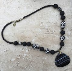 Agate Necklace African Clay Necklace Black by FabStitchesUSA