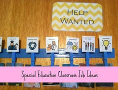 Special education classroom jobs idea. job ideas for kiddos with physical and intellectual disabilities